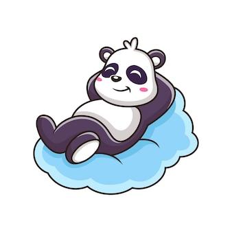 Śliczna panda śpi w chmurze ikona ilustracja. postać z kreskówki maskotka zwierząt. na białym tle