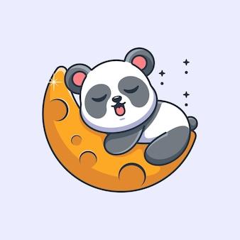 Śliczna panda śpiąca na kreskówce księżyca