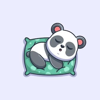 Śliczna panda śpiąca na poduszce kreskówka