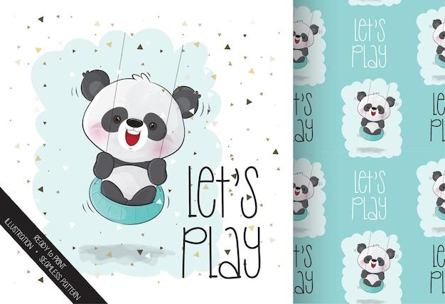 Śliczna panda szczęśliwa uśmiechnięta na huśtawce z bezszwowym wzorem