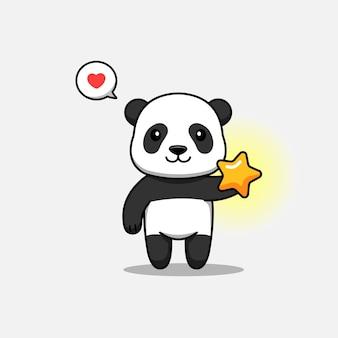 Śliczna panda troszcząca się o lśniącą gwiazdę
