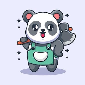 Śliczna panda trzyma kreskówka topór