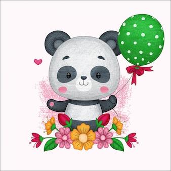 Śliczna panda trzymająca balon. ręcznie malowane kredkami.