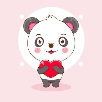 Śliczna panda trzymająca kreskówka serce miłości
