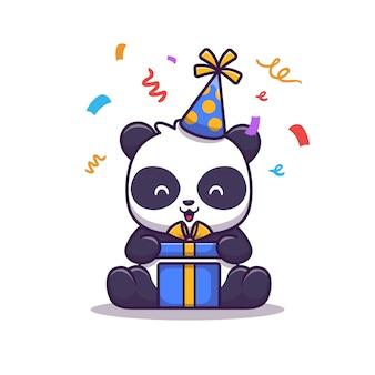 Śliczna panda urodzinowa laptop ilustracja. technologia zwierząt i prezentów. płaski styl kreskówek