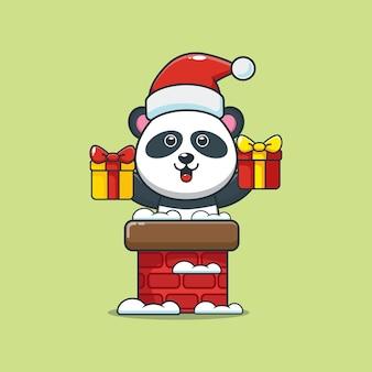 Śliczna panda w czapce świętego mikołaja z komina śliczna świąteczna ilustracja kreskówka
