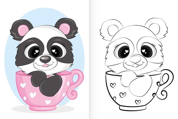 Śliczna panda w filiżance. kolorowanka dla dzieci w wieku przedszkolnym.