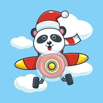 Śliczna panda w kapeluszu santa latać samolotem w boże narodzenie śliczna świąteczna ilustracja kreskówka