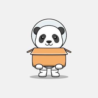 Śliczna panda w kostiumie astronauty z kartonem