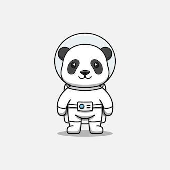 Śliczna panda w kostiumie astronauty