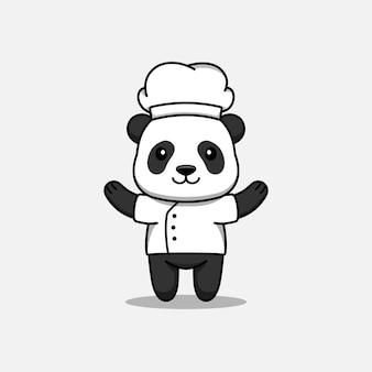Śliczna panda w mundurze szefa kuchni