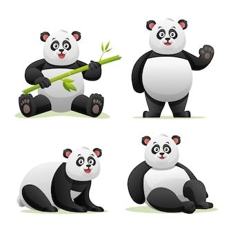 Śliczna panda w różnych pozach ilustracja kreskówka