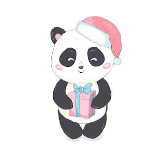Śliczna panda w santa kapeluszu w czerwonej torbie z prezenta wektorowym wizerunkiem odizolowywającym. kreskówka miś panda wychodzi z worka świętego mikołaja. zabawny świąteczny niedźwiedź dla dzieci. wesołych świąt i szczęśliwego nowego roku.