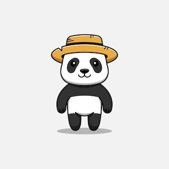 Śliczna panda w słomkowym kapeluszu