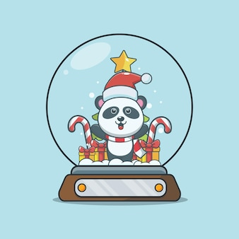 Śliczna panda w śnieżnej kuli śliczna świąteczna ilustracja kreskówka