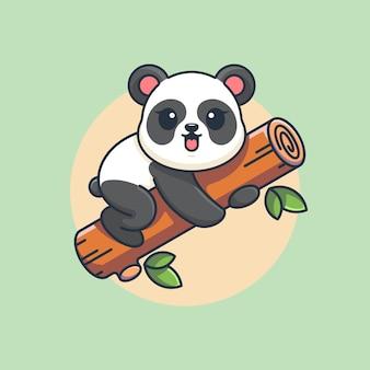 Śliczna panda wisząca na kreskówce drzewa