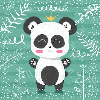 Śliczna panda wzoru mała princess