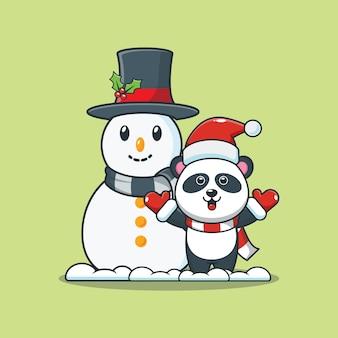 Śliczna panda z bałwanem w boże narodzenie śliczna świąteczna ilustracja kreskówka