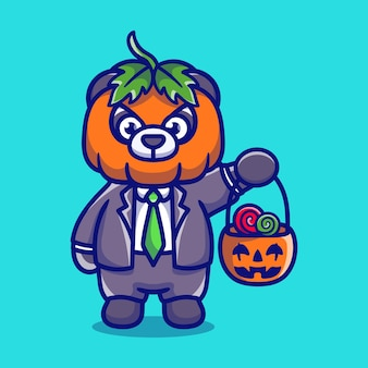 Śliczna panda z dyni przynosi cukierki na halloween