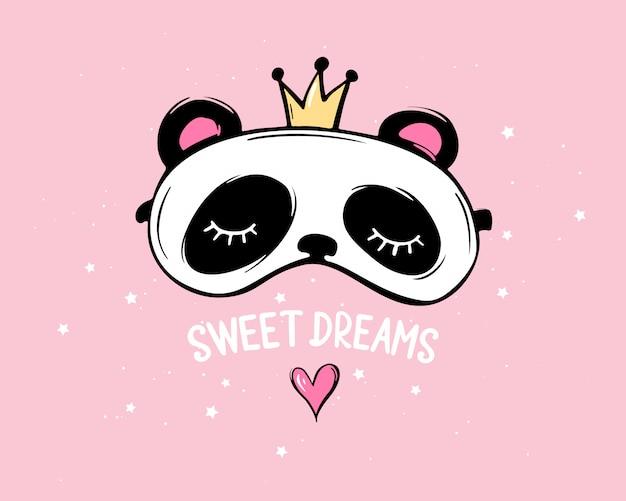 Śliczna panda z koroną i zamkniętymi oczami. napis słodkich snów. maska do spania. piżama party