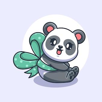 Śliczna panda z kreskówką wstążkową