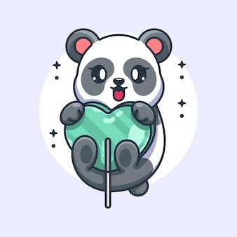 Śliczna panda z kreskówką z cukierkowego serca