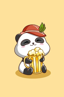 Śliczna panda z piwem na ilustracji kreskówki oktoberfest