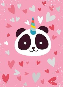Śliczna panda z rogiem jednorożca