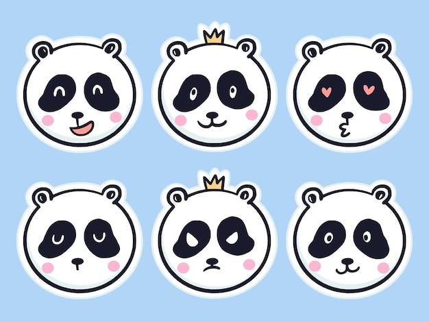 Śliczna panda zestaw naklejek ilustracja kreskówka