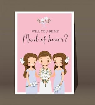 Śliczna Panna Młoda I Panna Młoda Z Tekstem Czy Będziesz Moją Druhną Za Szablon ślubny Premium Wektorów