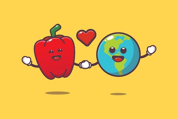 Śliczna papryka i ziemia ilustracja kreskówka światowy dzień wegetariański ilustracja kreskówka wektor