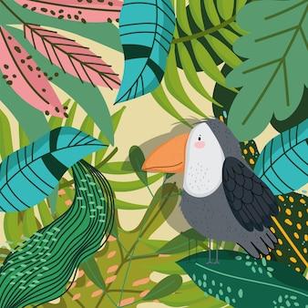 Śliczna papuga w gałęzi drzew liści kreskówka roślinność natura
