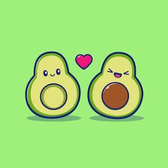 Śliczna para avocado ikony ilustracja. owocowy ikony pojęcie odizolowywający. płaski styl kreskówek