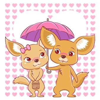Śliczna para fenków lisy spada w miłości.