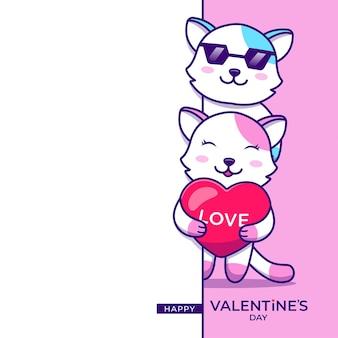 Śliczna Para Kotów Z życzeniami Szczęśliwych Walentynek Premium Wektorów