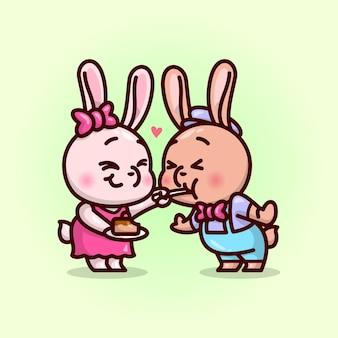 Śliczna para królika jedzenie ciasta razem i cudowo czuć się. ilustracja na walentynki.