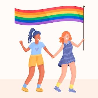 Śliczna para lesbijek z flagą lgbt