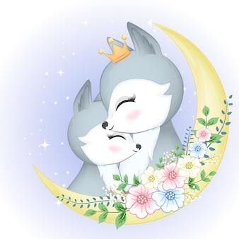 Śliczna para lis i księżyc z wiankiem kwiatów