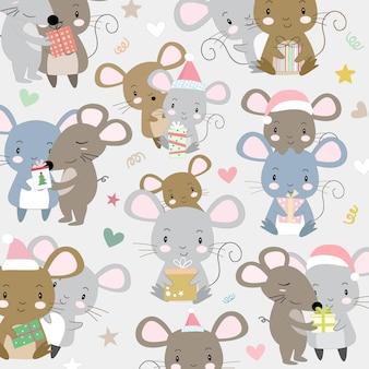 Śliczna para mała mysz szczęśliwa na bożych narodzeniach.