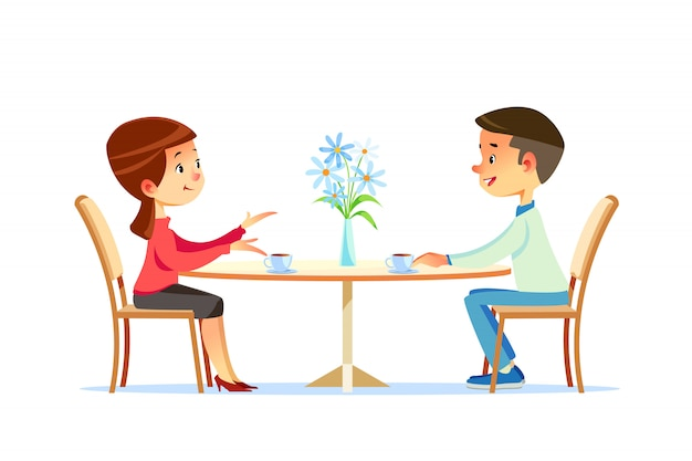Śliczna para siedzi przy stołem, pije herbaty lub kawy i opowiada. młody śmieszny mężczyzna i kobieta w kawiarni w dniu. dialog lub rozmowa między romantycznymi partnerami. ilustracja kreskówka płaski wektor