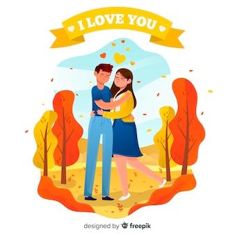 Śliczna para w miłości cieszy się dzień wpólnie