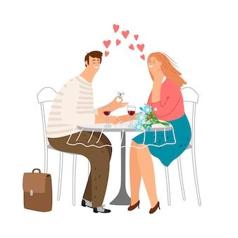 Śliczna para zakochana w kawiarni. uwielbiam randki ilustracja. mężczyzna składa propozycję małżeństwa
