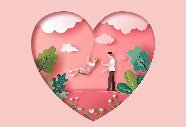 Śliczna para zakochanych w parku w ilustracji papieru