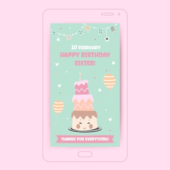 Śliczna pastelowa siostro z okazji urodzin! instagramowa historia