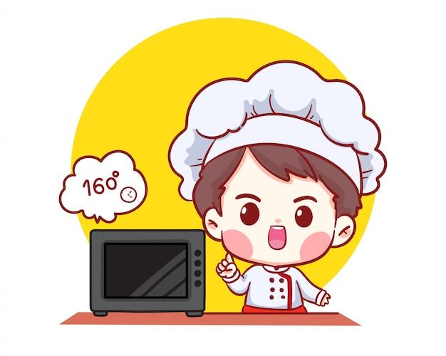 Śliczna piekarnia szefa kuchni chłopiec kreskówki sztuki piekarniana ilustracja