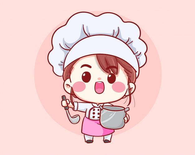 Śliczna piekarnia szefa kuchni dziewczyna gotuje uśmiechniętego kreskówki sztuki ilustraci loga.