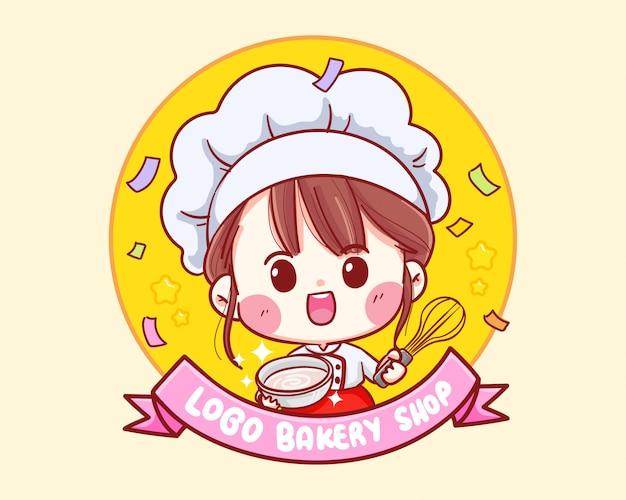 Śliczna piekarnia szefa kuchni dziewczyny kreskówki kreskówki ilustraci uśmiechnięty logo.