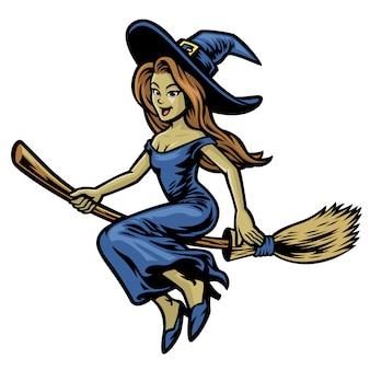 Śliczna piękna czarownica jedzie jej latającą miotłę