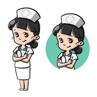 Śliczna pielęgniarka ilustracja kreskówka