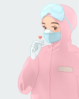 Śliczna pielęgniarka w różowym kombinezonie z uroczą kreskówkową pozą